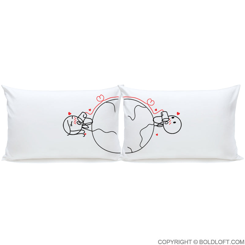 BoldLoft Love Has No Distance Couple Pillowcases
