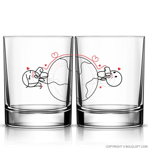 Love Has No Distance™ Couple Drinking Glass Set