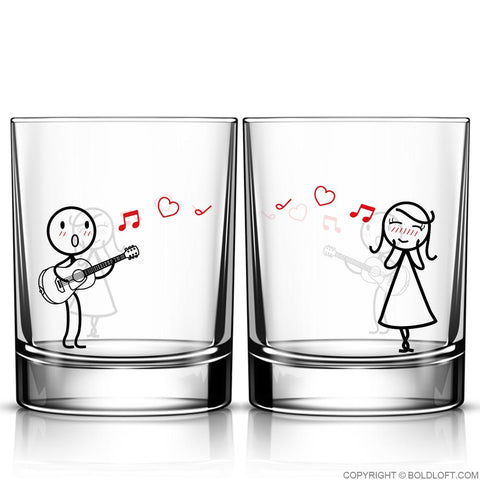 Love Me Tender™ Couple Drinking Glass Set