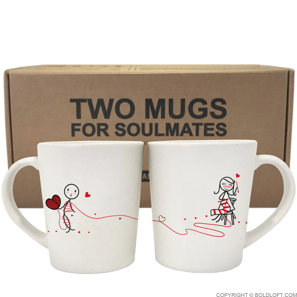 Love Ties Us Together Couple Coffee Mugs- Gifts for Knitters