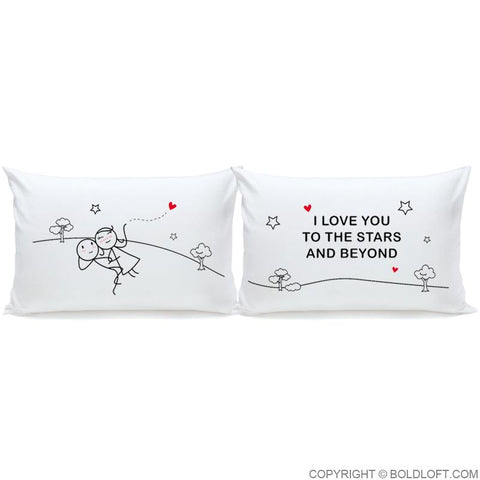 Love You to The Stars & Beyond™ Couple Pillowcase Set