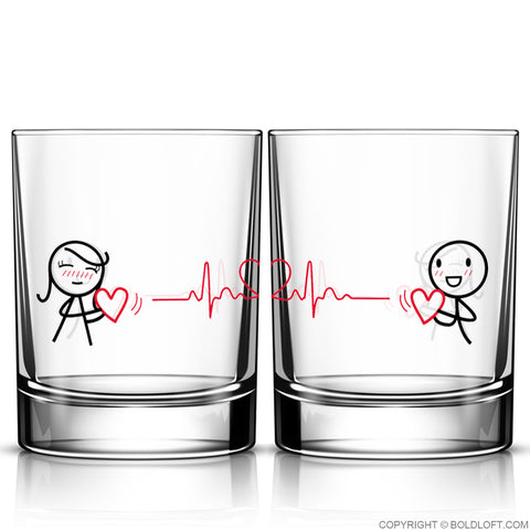 Love You with Every Beat of My Heart™ Couple Drinking Glass Set