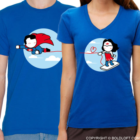 Made for Loving You™ His & Hers Matching Couple Shirt Set Blue