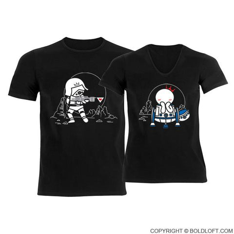 May the Love be with You™ His & Hers Matching Couples Shirts Black