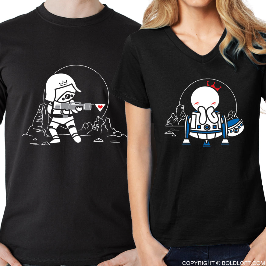 May the Love be with You™ His & Hers Matching Couple Shirt Set Black