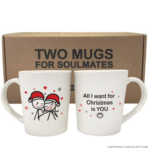 Christmas Mugs.Merry Christmas Couple Mug Set