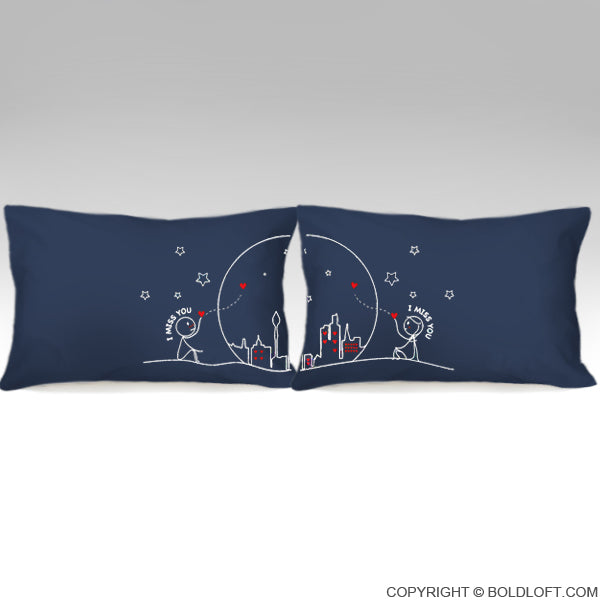 Miss Us Together™ Couple Pillowcase Set (Dark Blue)