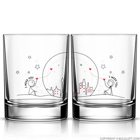 Miss Us Together™ Couple Drinking Glass Set
