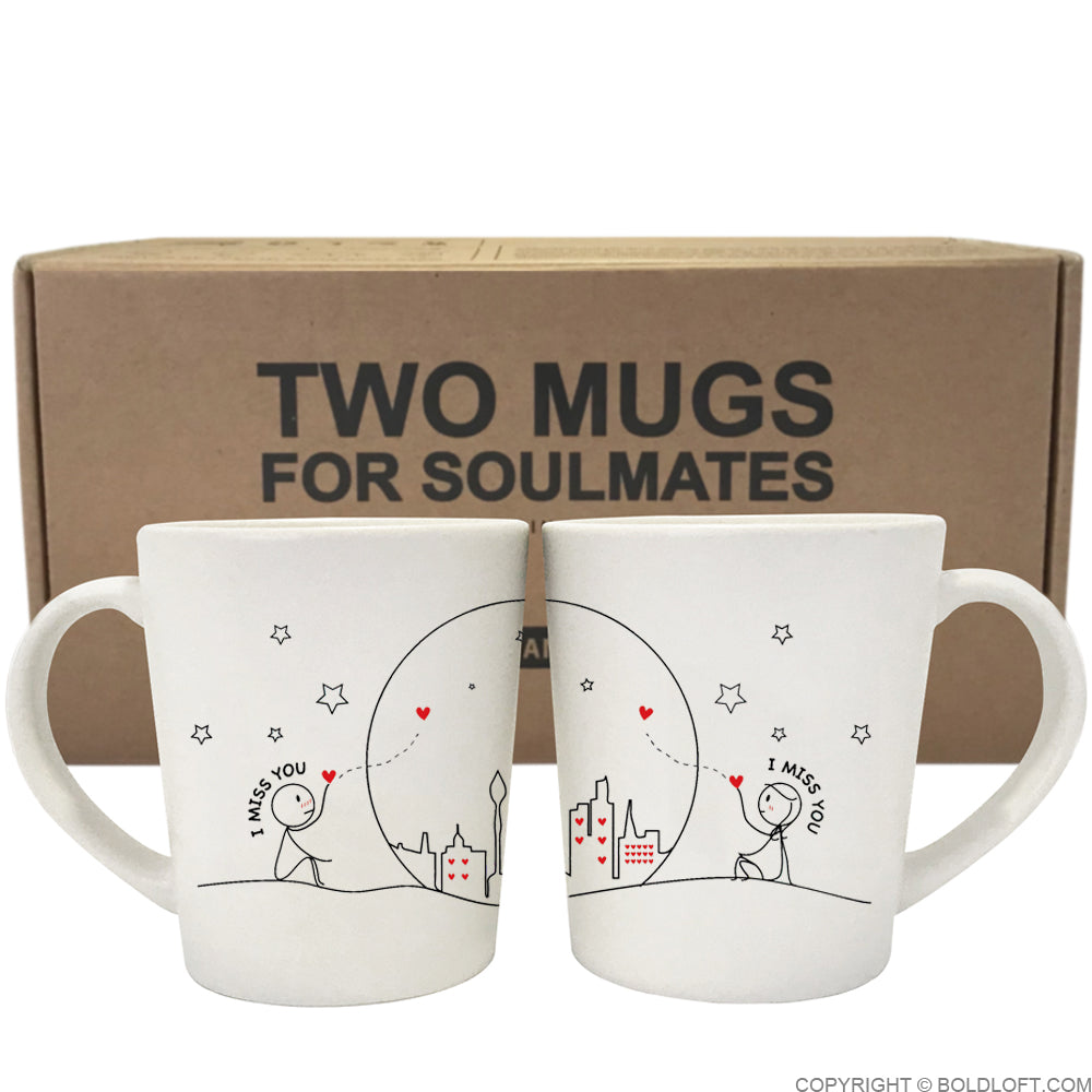 Valentines Gift for Long Distance Boyfriend Miss Us Together Couple Coffee Mugs