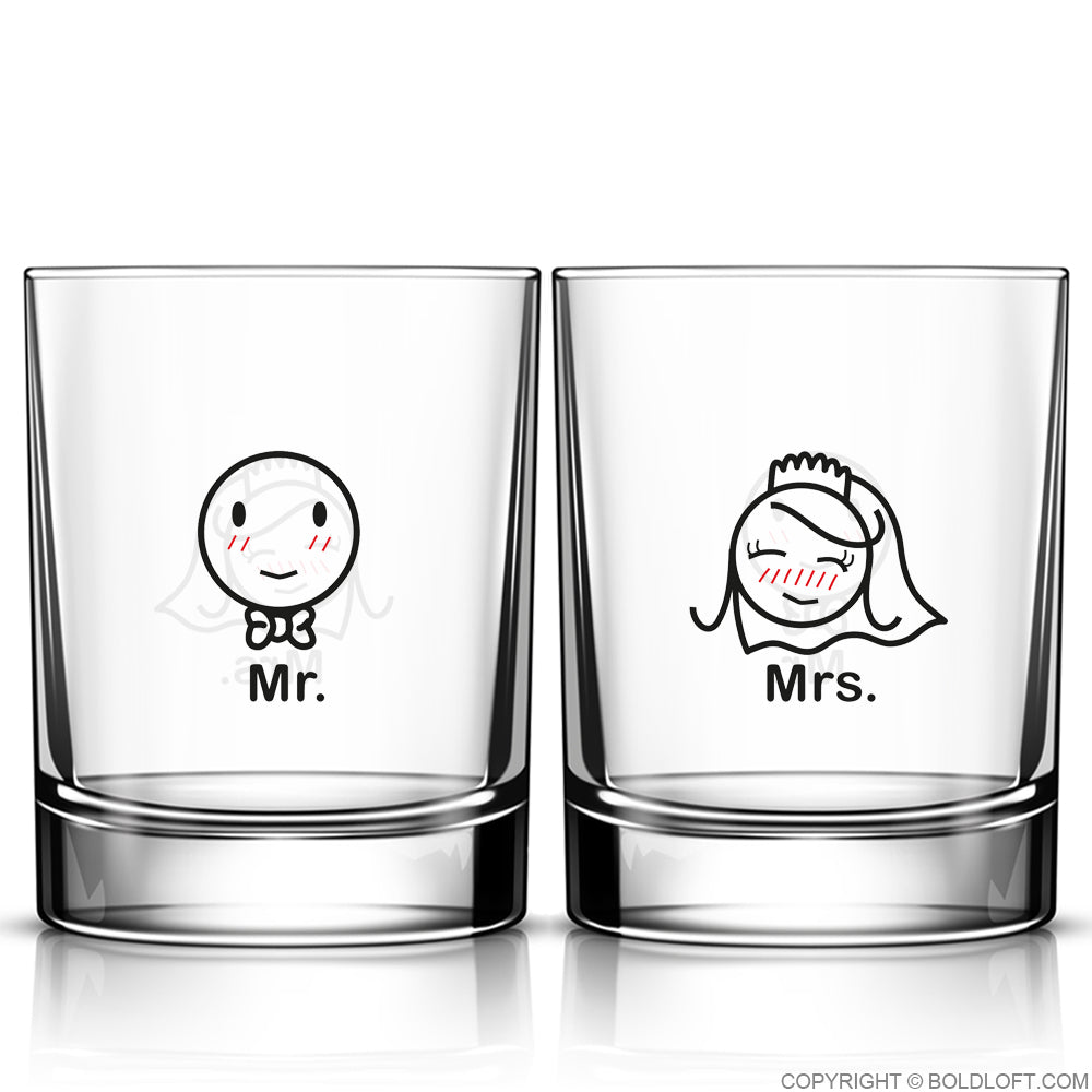 A Perfect Match™ Mr & Mrs Wedding Drinking Glass Set