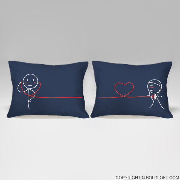 My Heart Beats For You™ Pillowcases (Dark Blue)