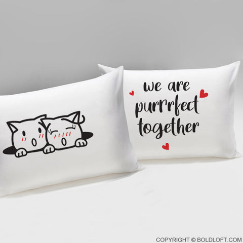 boldloft purrfect together cat pillowcases for couples cat lover gifts
