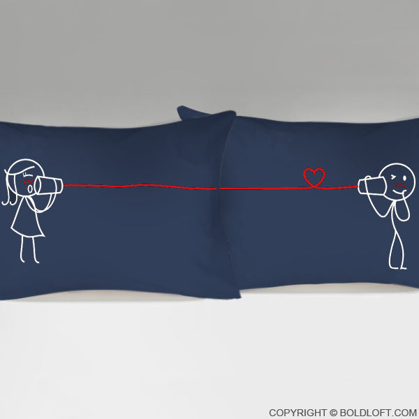 Valentines Day Gifts for Him BoldLoft Say I Love You Too Couple Pillowcases (Dark Blue)