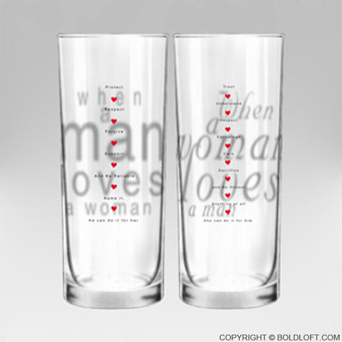 Together in Love™ His n Hers Drinking Glasses