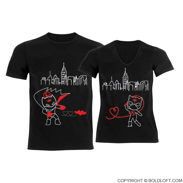 We're Irresistibly Attracted™ Couple T-Shirts Black