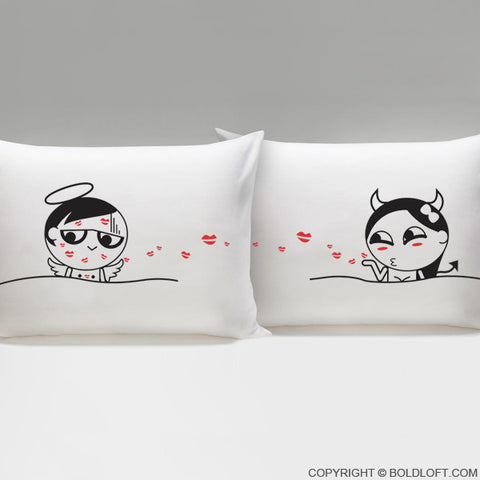 Funny Gag Gifts- You're So Kissable Couple Pillowcases