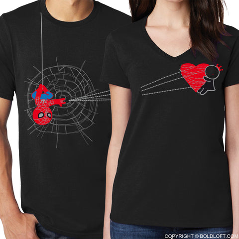 You've Captured My Heart™ His & Hers Matching Couple Shirt Set Black