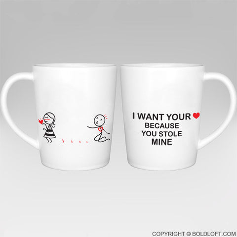 You Stole My Heart™ Couple Coffee Mugs