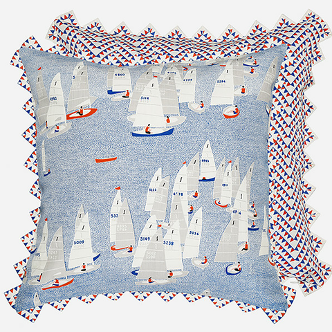 Give your home a nautical makeover with the Regatta cushion by Safomasi inspired by the Salcombe Regatta. This two-sided statement cushion with the racing yachts on one side and a graphical ferry flag print on the other is a great addition to coastal homes or even city abodes. We particularly love the quirky ferry flag edging in the British bunting style.