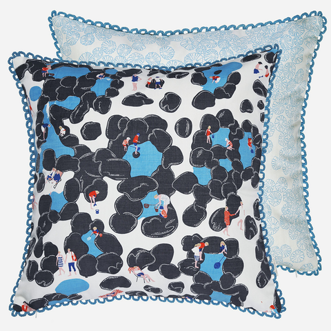 Give your home a nautical makeover with the Rockpool cushion by Safomasi inspired by British seaside scenes. Boasting a fun and playful design featuring couples strolling the beach and children rockpooling, this unique cushion design will liven up a living room or add some playfulness to a children's bedroom or nursery.