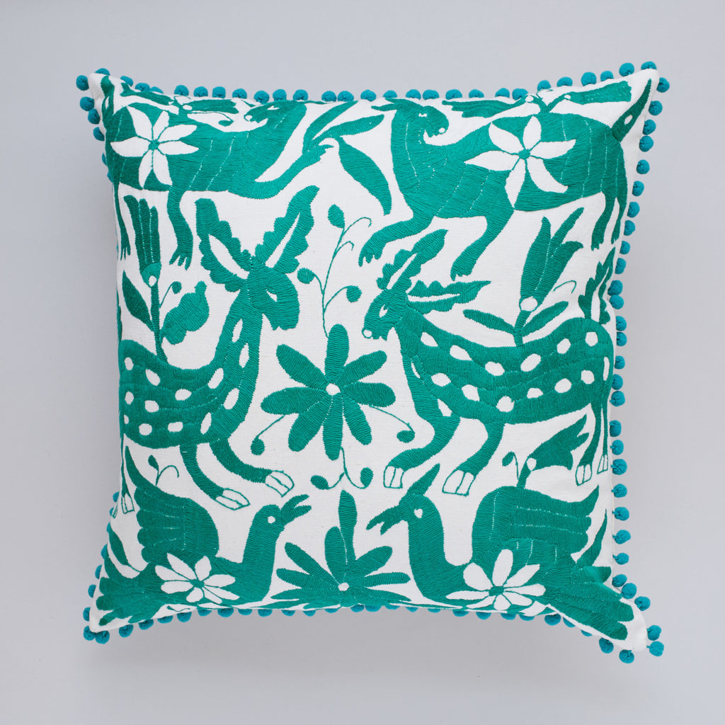 Teal Otomi cushion cover by Yucu Ninu
