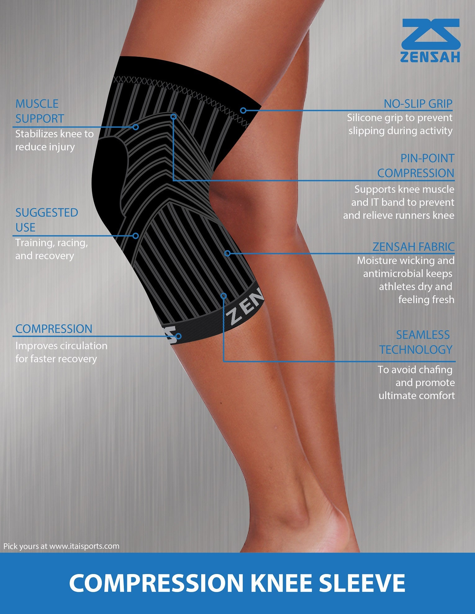 ZENSAH COMPRESSION KNEE SLEEVE (PAIR)