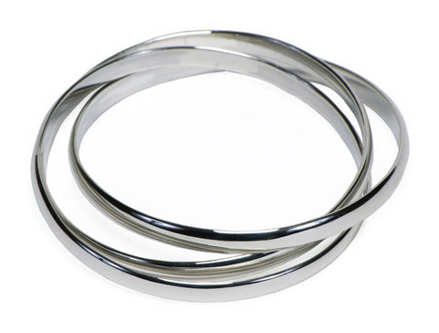 Silver Medium Triple Bangle