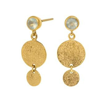 Prehinite Double Disc Vermeil Earrings