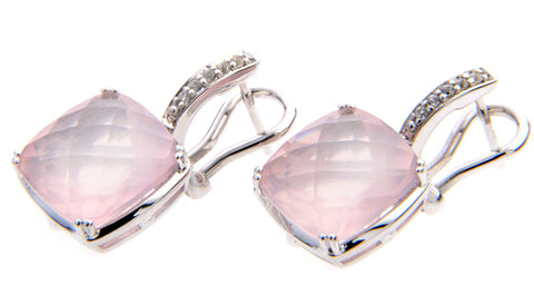 Rose Quartz & White Sapphire Drop Earrings