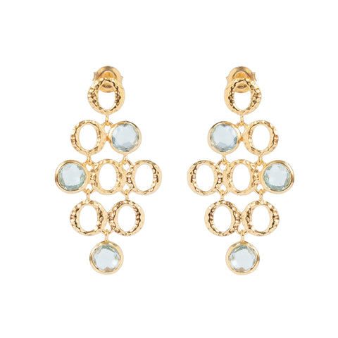 Blue Topaz Three Stone Vermeil Drop Earrings (New)