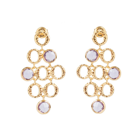 Amethyst Three Stone Vermeil Drop Earrings (New)