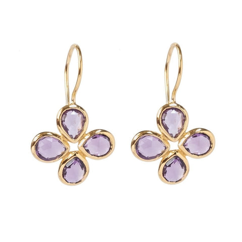 Amethyst Vermeil Flower Earrings (New)