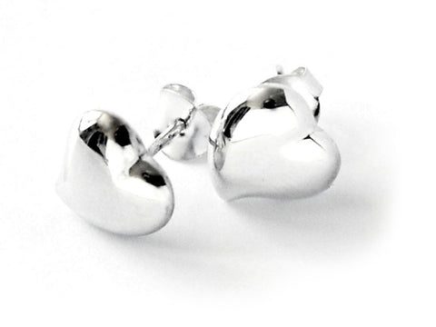 Sterling Silver Solid Heart Curved Earrings