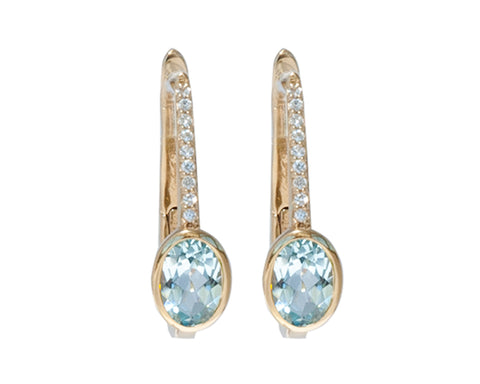 'NEW'  Blue Topaz and White Sapphire Earrings
