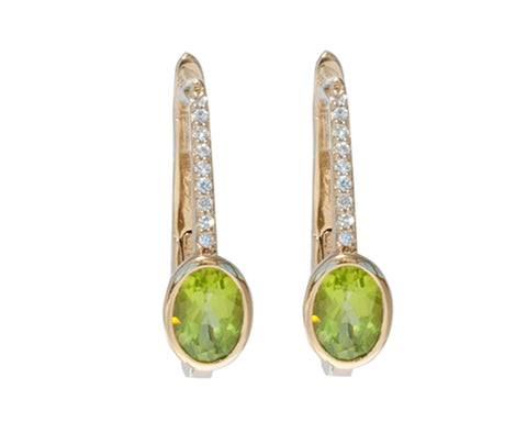 'NEW' Peridot and White Sapphire Drop Earrings