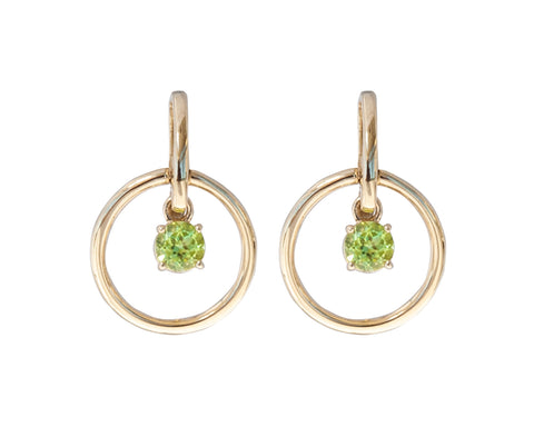 Peridot Circle Earrings