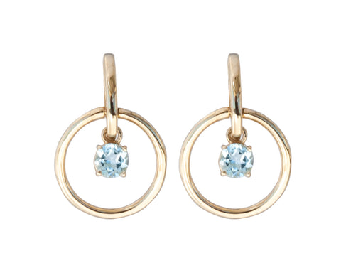 Blue Topaz Gold Vermeil Circle Earrings