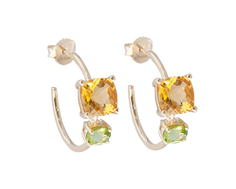 Citrine and Peridot Square Stone 10ct Gold Hoop Earrings