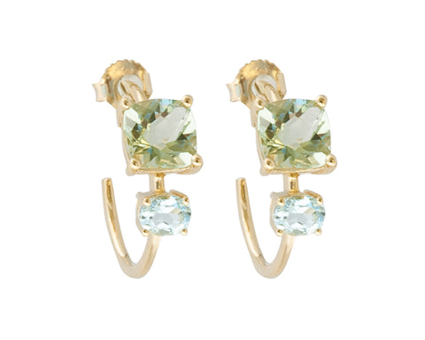 Mint Green Quartz and Blue Topaz 10ct Gold Square Stone Hoop Earrings