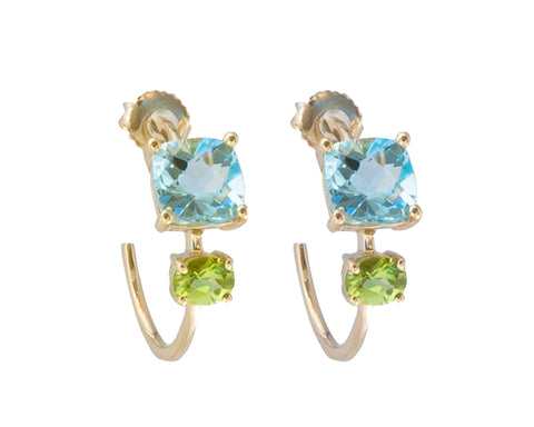 'NEW' Blue Topaz and Peridot Square Stone Hoop Earrings