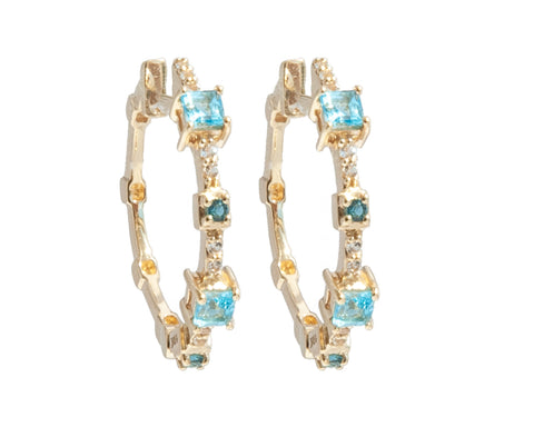 'NEW' Blue Topaz and White Topaz Hoop Earring