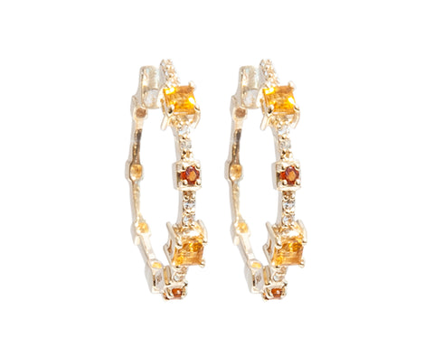 Citrine and White Topaz Hoop Earrings