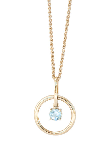 Blue Topaz Gold Vermeil Circle Necklace