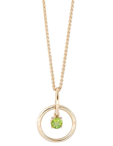 Peridot Gold Vermeil Circle Necklace