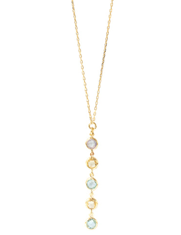 Blue Topaz and Lemon Quartz Five Stone drop Necklace