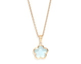 Blue Topaz Rounded Flower Necklace