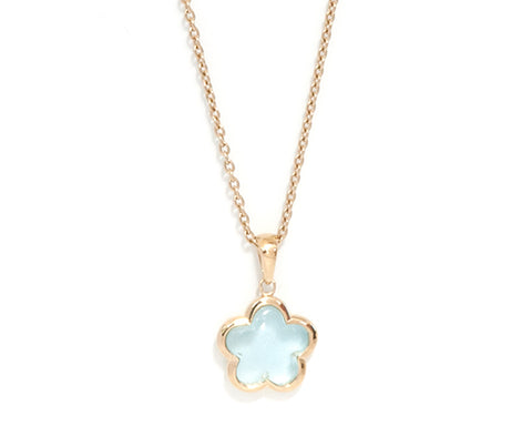 'NEW'  Blue Topaz Rounded Flower Necklace