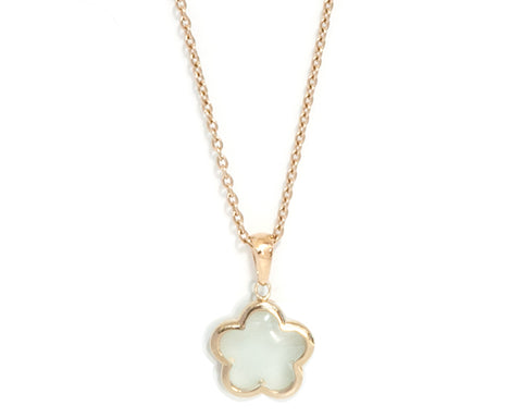Mint Green Quartz Gold Vermeil Rounded Flower Necklace