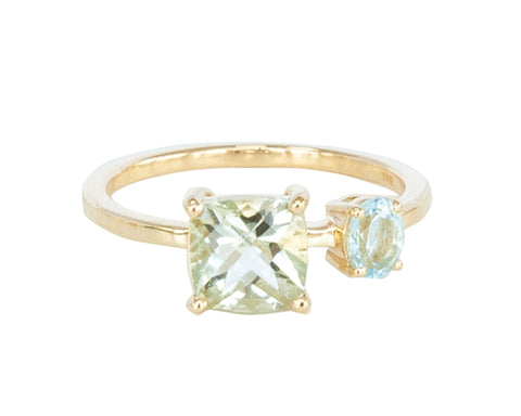 Mint Green Quartz and Blue Topaz 10ct Gold Square Stone Ring