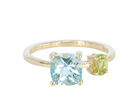 Blue Topaz and Peridot 10ct Gold Square Stone Ring